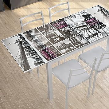 Abitti Mesa de Cocina Extensible de Cristal con serigrafía York 110 ...