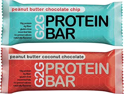 G2G Protein Bars - 2 Boxes Meal Replacement Bar to Support Clean Eating, Gluten Free - One Box Each of Peanut Butter Chocolate Chip and Peanut Butter Coconut Chocolate, 16 Bars