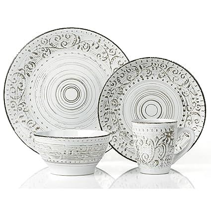 Lorren Home Trends 16 Piece Distressed Romance Stoneware Dinnerware Set White  sc 1 st  Amazon.com & Amazon.com | Lorren Home Trends 16 Piece Distressed Romance ...
