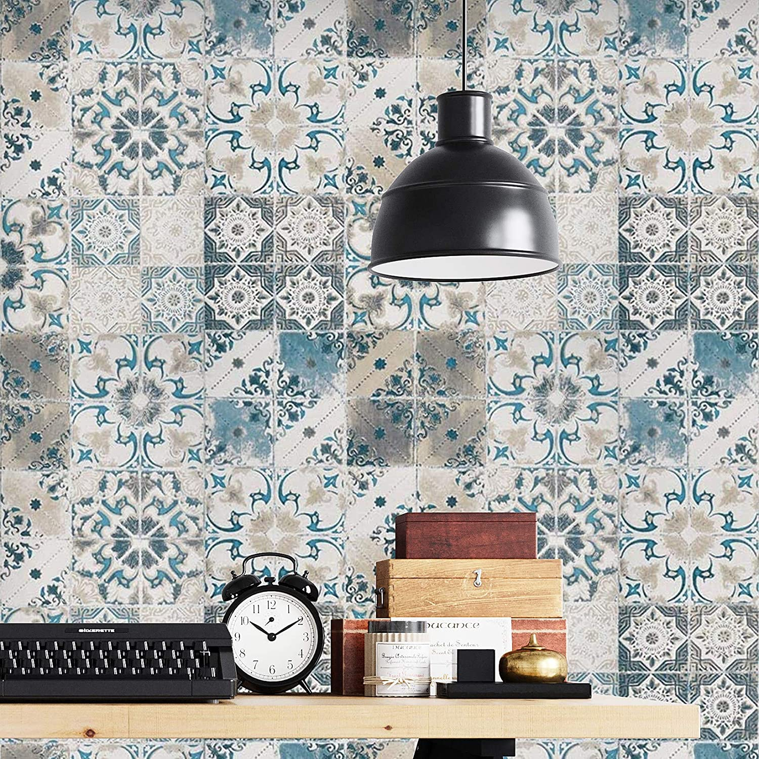 """17.7""""x197"""" Blue Tile Wallpaper Realistic Tile Peel and Stick Wallpaper for Kitchen Embossed Self Adhesive Wallpaper Stick and Peel Wall Decor Wall Paper"""