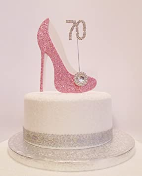 Phenomenal 70Th Birthday Cake Decoration Pink White Shoe With Crystal Funny Birthday Cards Online Fluifree Goldxyz