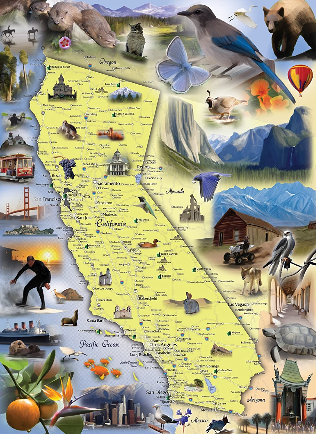 Amazoncom California Map Jigsaw Puzzle Piece Map Of The - Map of the state of california