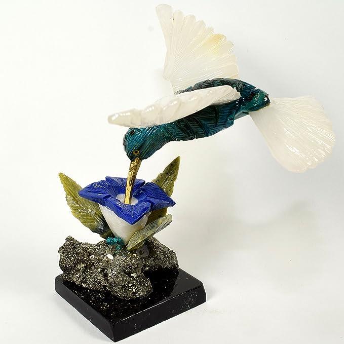 HQRP Colibri - Figura Decorativa de Pájaro DE 4,9 Pulgadas, Diseño de Flores coleccionables, Tallada a Mano, Multicolor, Piedra de Cristal Natural, ...