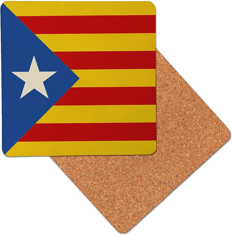 España Bandera catalán estrella Posavasos de madera de primera calidad - base de corcho - posavasos para bebidas - mesa de tapete - 95 x 95 mm (Pack of 6): Amazon.es: Hogar