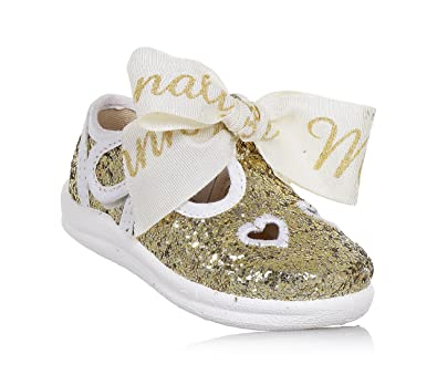 Monnalisa Goldener Schuh Aus Glitzern und Stoff, Seitlich ein  Klettverschluss, Romantisch und Spaßig,