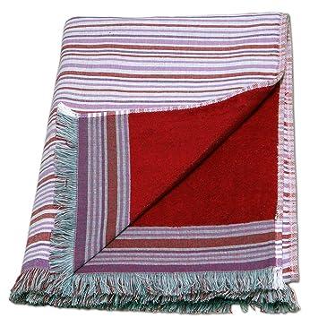 Grande 100% algodón doble cara toalla de playa pareo toalla de baño, diseño de rayas, color rojo: Amazon.es: Hogar