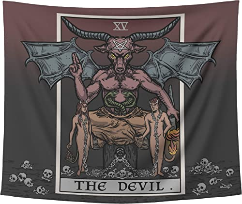 The Devil Tarot Card Tapestry Gothic Halloween Satanic Witch Baphomet Wall Hanging Art Print Home Decor