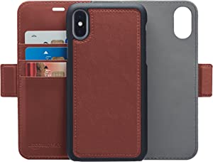 AmazonBasics iPhone X PU Leather Wallet Detachable Case, Dark Brown