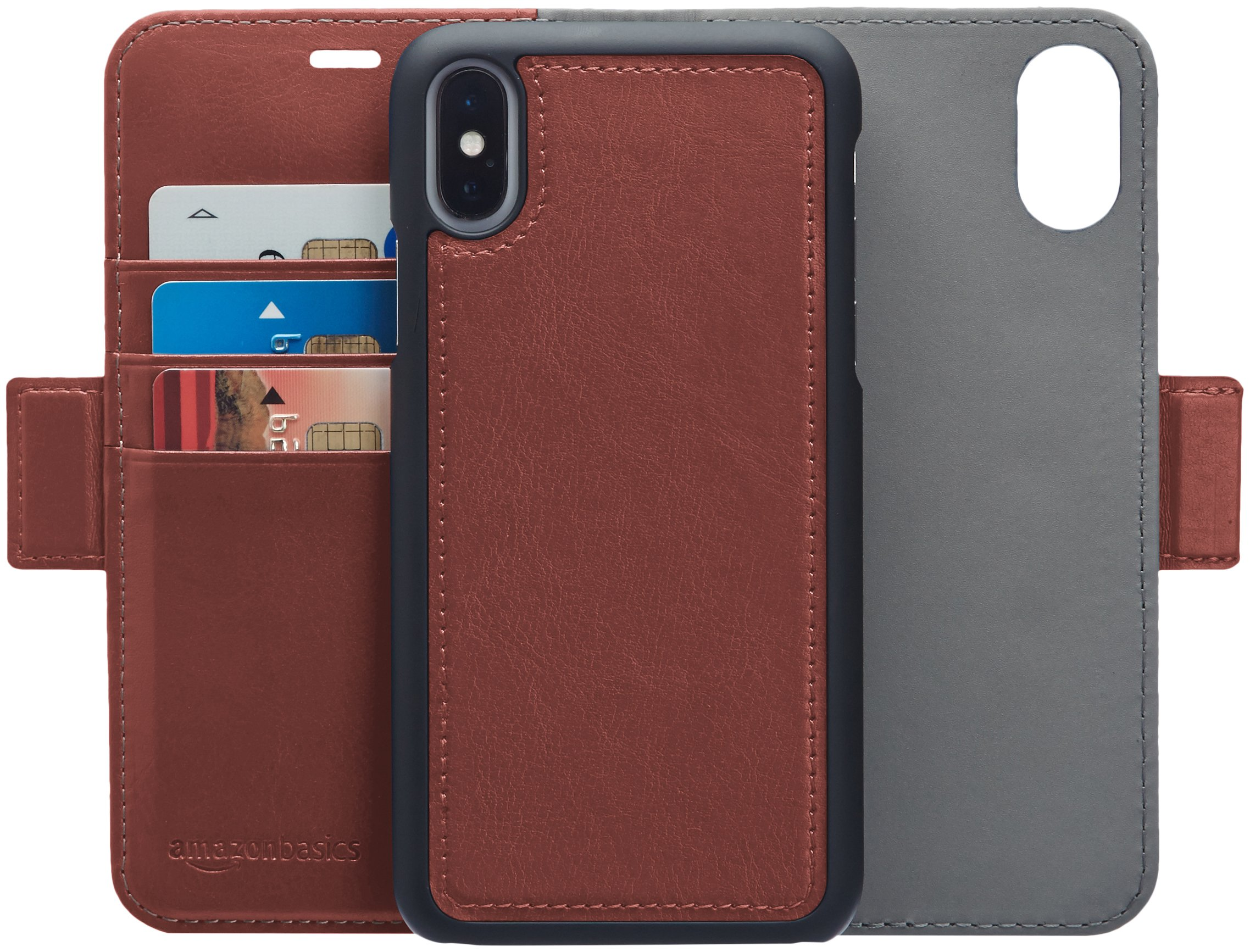 AmazonBasics iPhone X PU Leather Wallet Detachable Case, Dark Brown by AmazonBasics (Image #1)