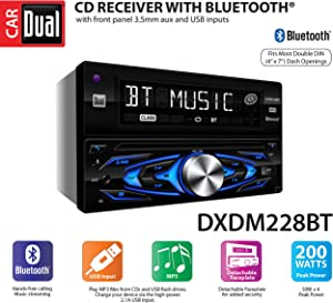 Dual Electronics DXDM228BT Multimedia Detachable 8 Character LCD Double DIN Car Stereo with Built- in Bluetooth, CD, MP3 & USB Players