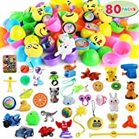 "80 Packs Pre Filled Easter Eggs with Novelty Toys and Stickers, 2 3/8"" 80 Bright Colorful Easter Eggs for Easter Basket Stuffers, Easter Party Favors, Easter Egg Hunt, Classroom Events"