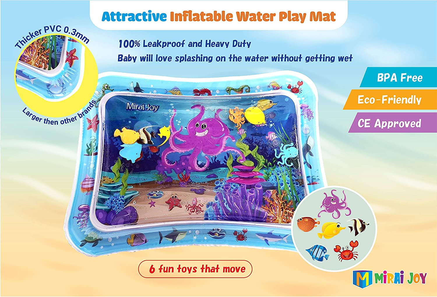 Mirai Joy Tummy Time Water Mat-CE Approved-Inflatable Water Play Mat Boys and Girls Perfect Sensory Toys for 3 6 9 12 Months Children and Infant