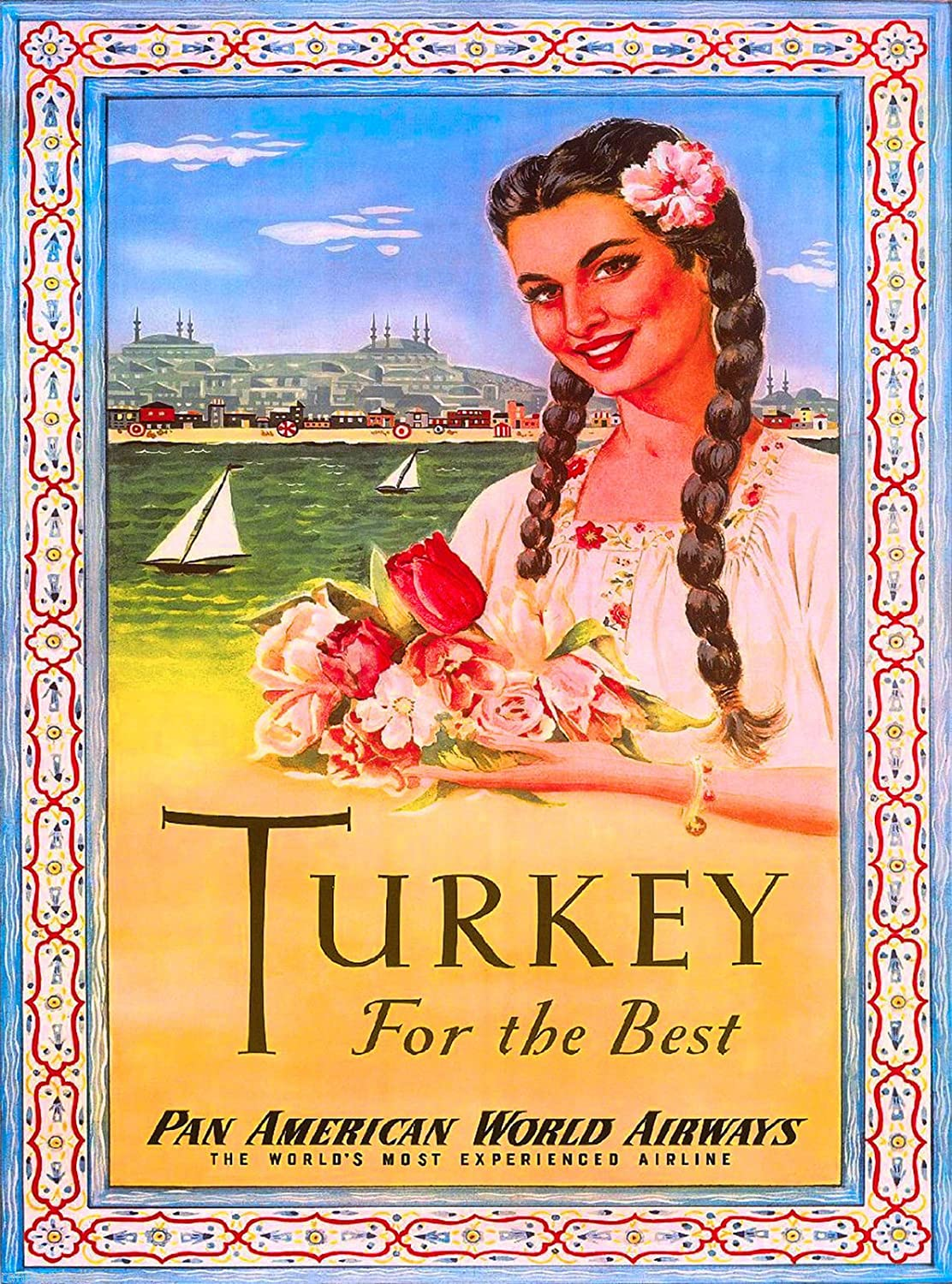 A Slice In Time Beautiful Girl Turkey Turkish Airplane Vintage Travel Art Advertisement Poster Posters Prints