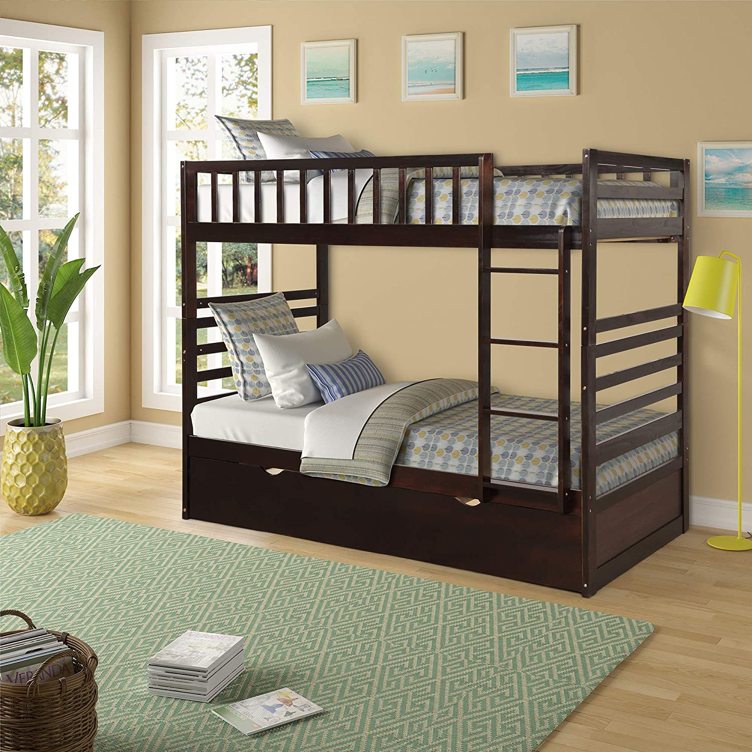 Merax Twin Over Twin Bunk Bed Solid Wood Twin Beds with Trundle Ladder and Guardrails for Kids Espresso