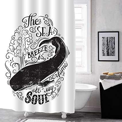 MitoVilla Vintage Hand Drawn Black And White Whale Shower Curtain With Letters Bathroom Accessories For