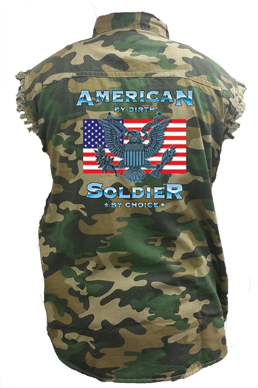 Mens Camo Sleeveless Denim Shirt American by Birth Soldier by Choice Denim Vest