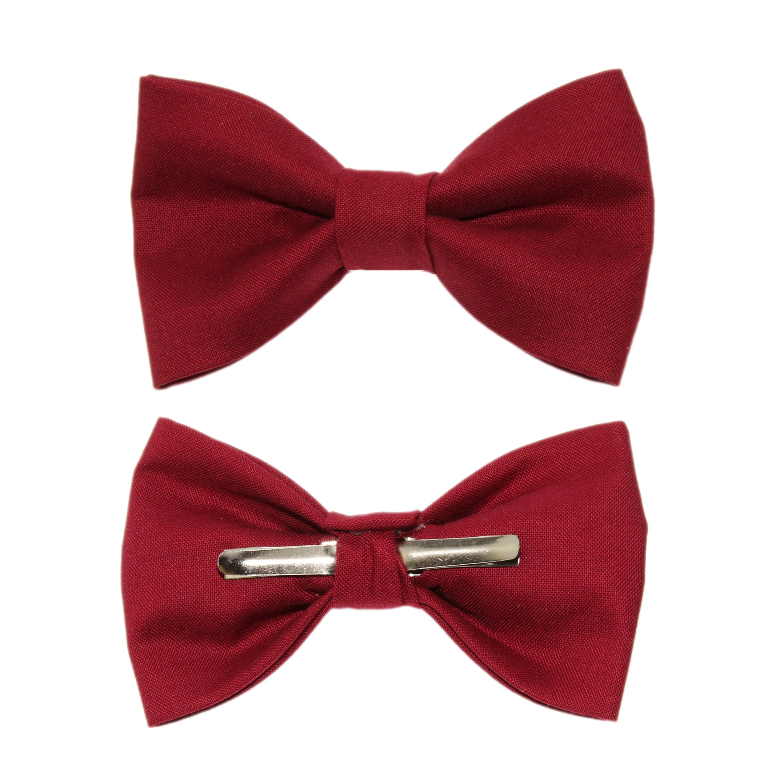 Boys Crimson Red Clip On Cotton Bow Tie Bowtie by amy2004marie