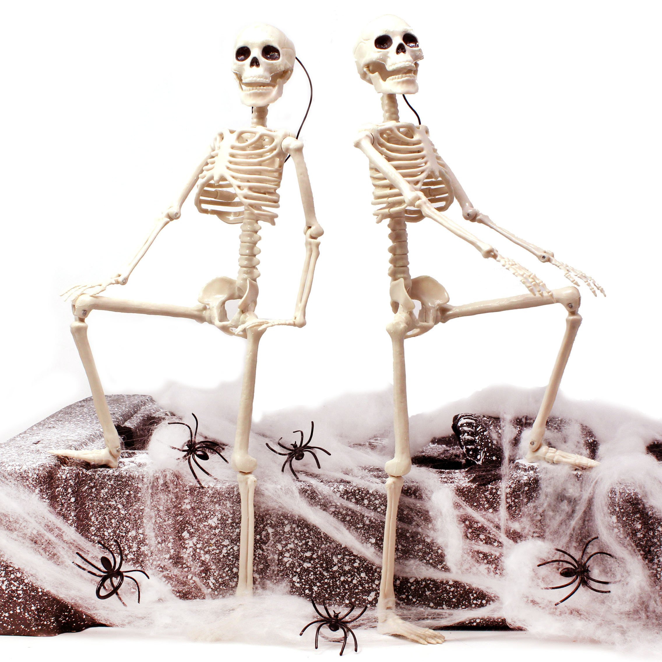 JOYIN 2 Packs 16'' Posable Halloween Skeletons | Full Body Posable Joints Skeletons for Halloween Decoration, Graveyard Decorations, Haunted House Accessories by JOYIN