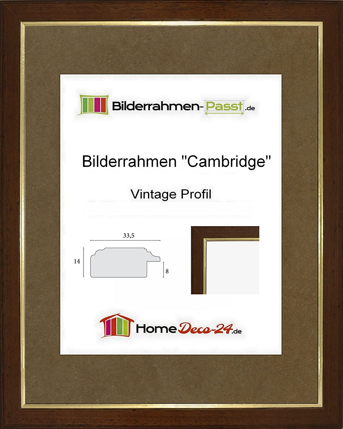 Amazon.de: Cambridge Vintage Massivholz Bilderrahmen Nussbraun Antik ...