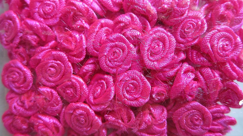 Amazon.com: satin fabric mini roses flowers hot pink neon fuchsia