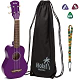 Hola! Music HM-21 Soprano Ukulele Bundle with Canvas Tote Bag, Strap and Picks, Color Series - Purple