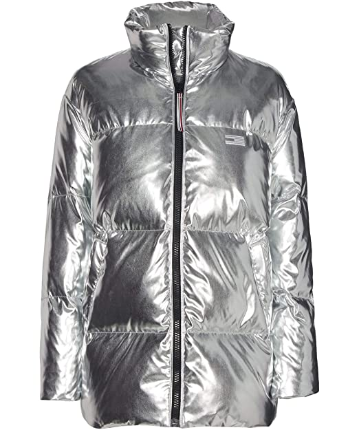 Tommy Hilfiger Mujeres Iconos Abajo Chaqueta Puffer Plata S ...