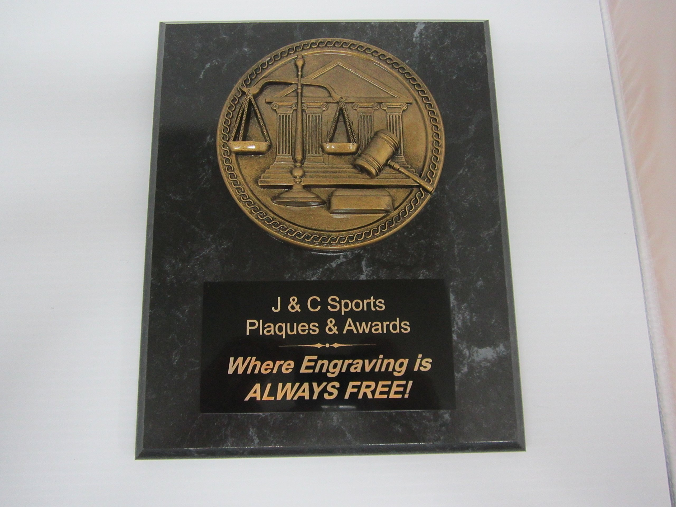 Attorney at Law Bronze Plaque 8''x10'' FREE CUSTOM ENGRAVING Black Marble Finish w/Law Plaque Mount