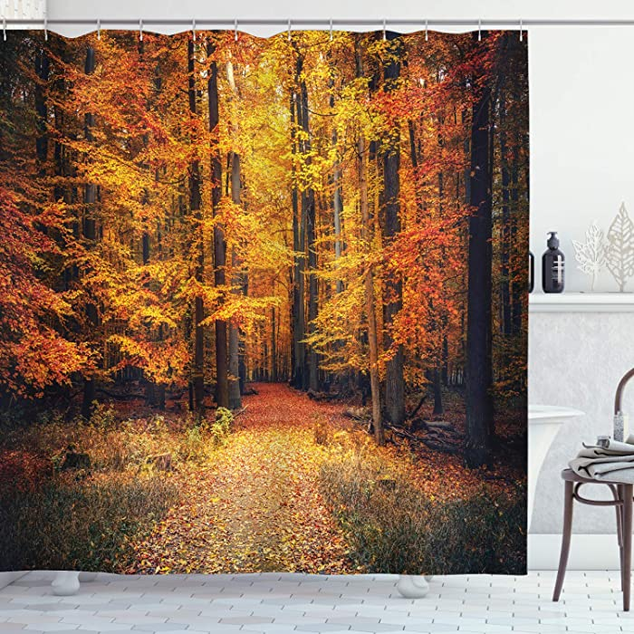 "Ambesonne Forest Shower Curtain, Fall Photo in National Park Vivid Leaf Plant Eco Earth Mystical Theme, Cloth Fabric Bathroom Decor Set with Hooks, 70"" Long, Orange Brown"