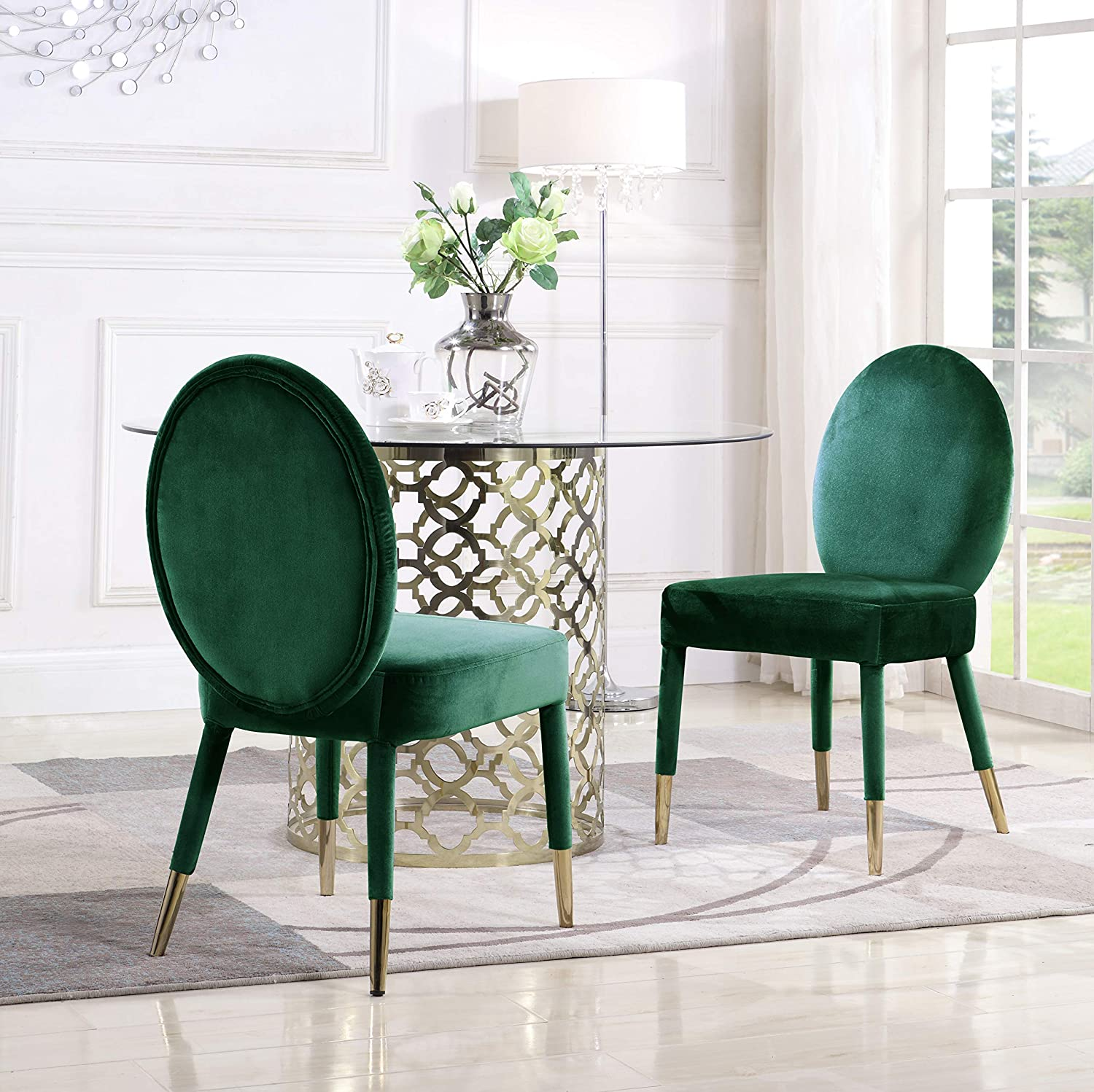 Iconic Home Leverett Dining Chair Upholstered Oval Back Armless Design Velvet Wrapped Wood Gold Tone Metal Tipped Legs (Set of 2) Modern Contemporary, Green
