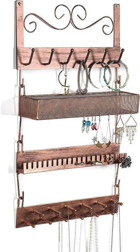 Bracelets Earrings Organizer Rack MyGift Dark Brown Wood /& Metal Wall Mounted Jewelry Hanger Necklaces