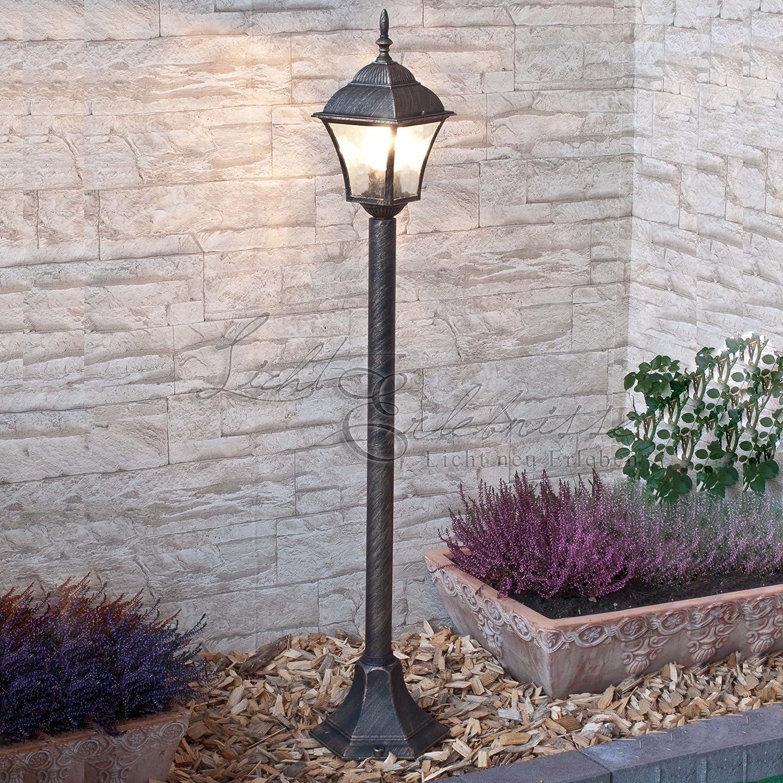 Aussen Stehlampe Schwarz Laterne Wetterfest E27 105cm Hoch Rustikal