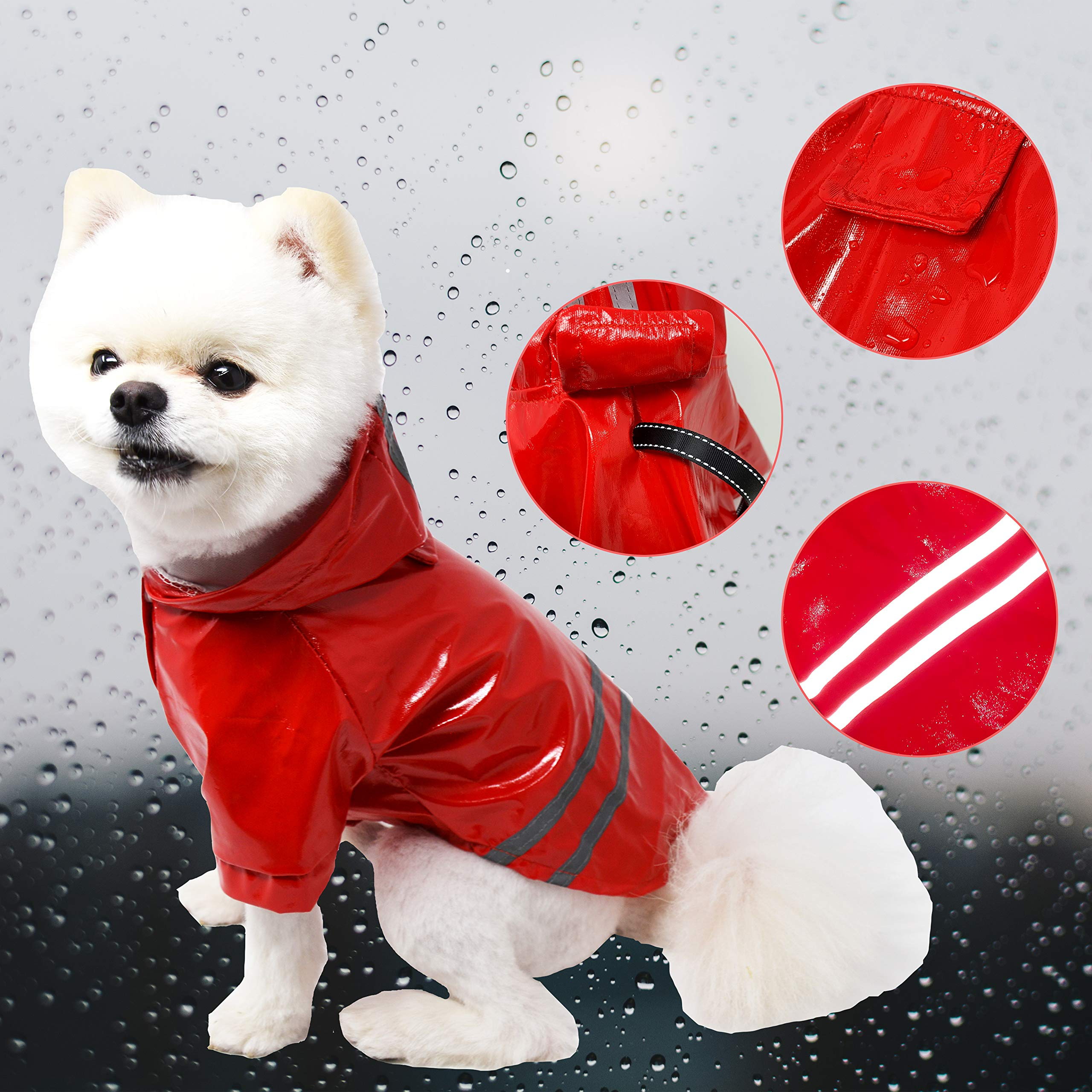 Cutie Pet Dog Raincoat Waterproof Coats for Dogs Lightweight Rain Jacket Breathable Rain Poncho Hooded Rainwear with Safety Reflective Stripes (XL, Red)