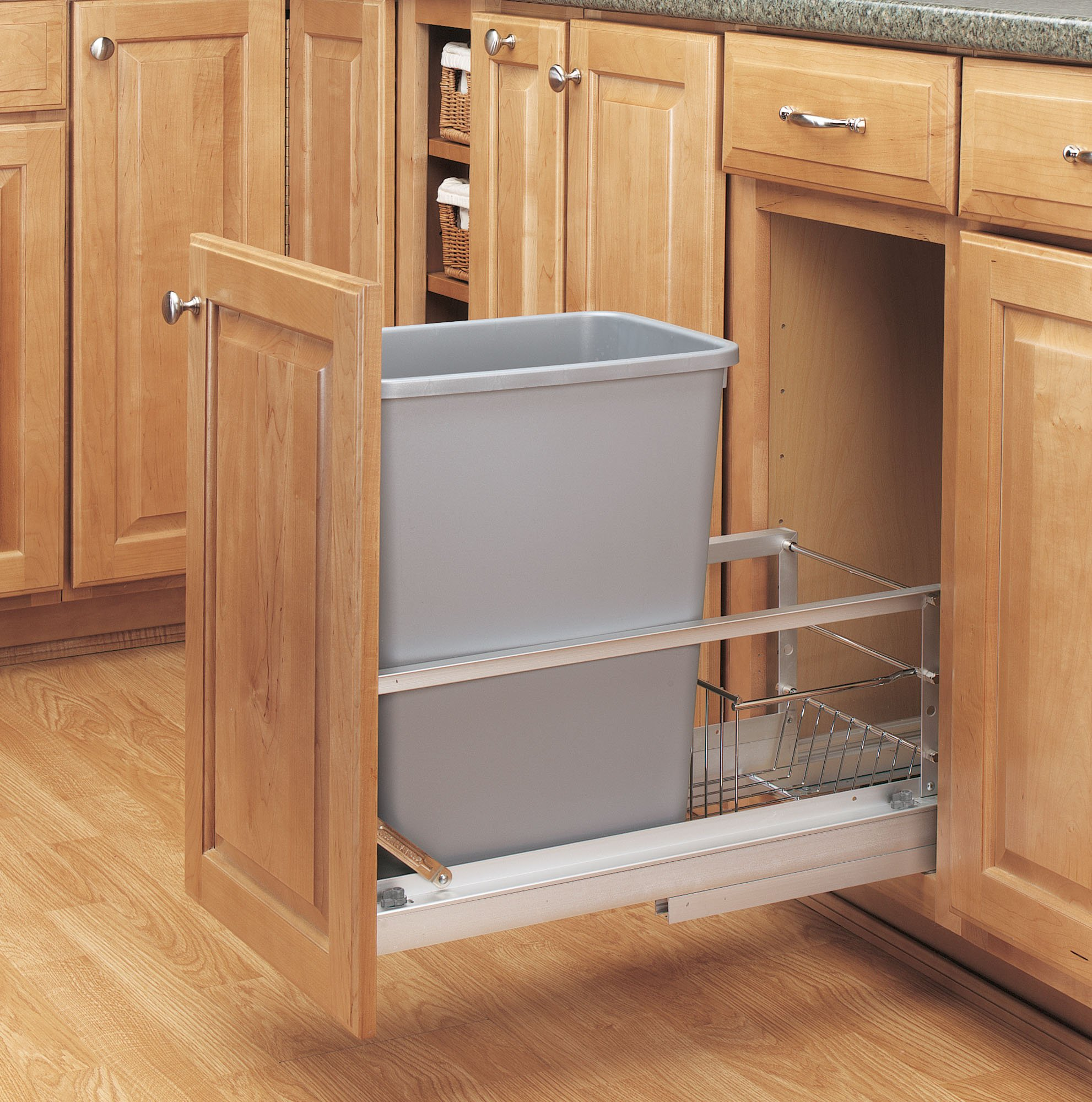 Rev-A-Shelf - 5349-15DM-117 - Single 35 Qt. Pull-Out Brushed Aluminum and Silver Waste Container by Rev-A-Shelf