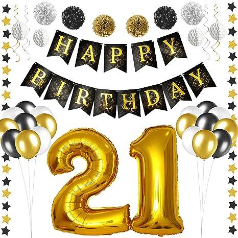 Amazoncom 21st Birthday Decorations Black and Gold 21st Birthday