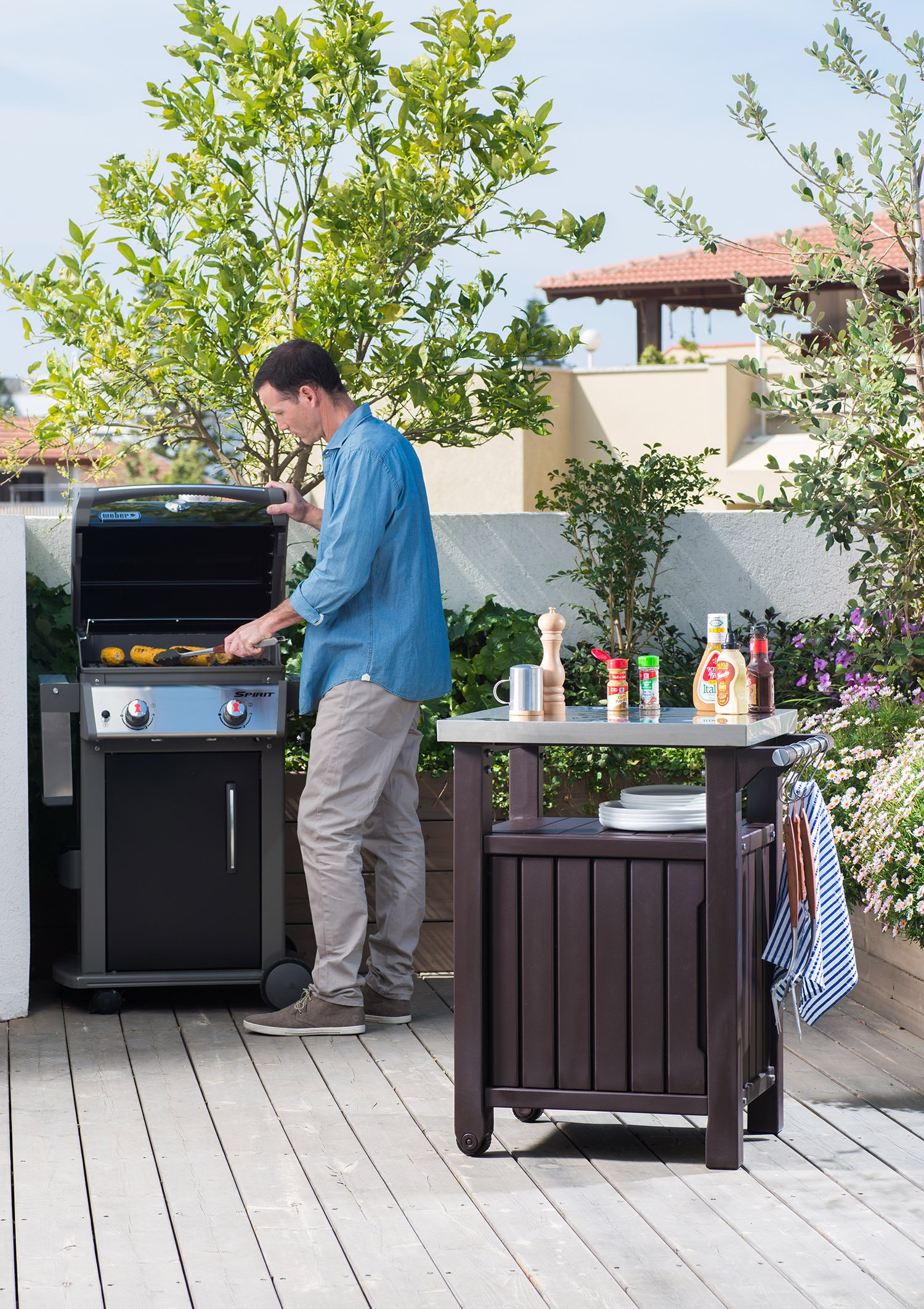 Outdoor Prep Station Serving BBQ Grilling Patio Deck Cabinet Backyard Table by Keter Products (Image #2)