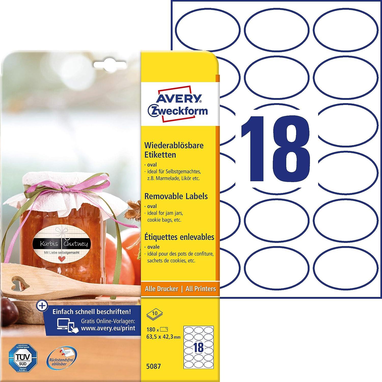 10 feuilles Blanc Avery Zweckform Lot de 180 /étiquettes autocollantes pour bouteille de confiture 63 x 42 mm 3 mm 5087