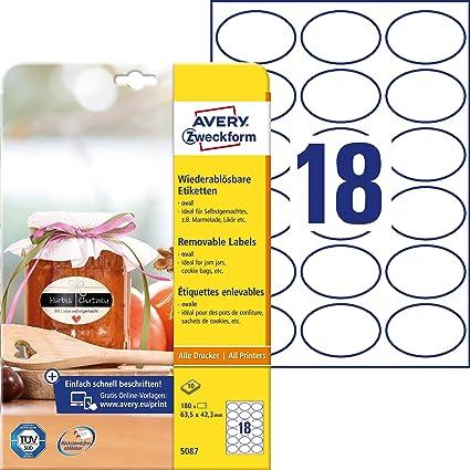 Avery Zweckform 180 Flaschenetiketten Selbstklebend 63