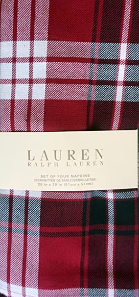 Christmas Tablescape Decor - Lauren Ralph Lauren Classic Nicolas Tartan Plaid Napkins - Set of 4