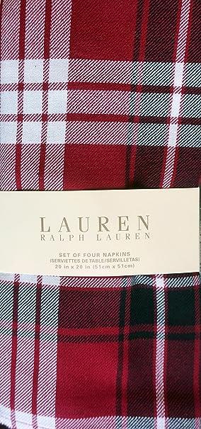 Christmas Tablescape Decor - Lauren Ralph Lauren Classic Nicolas Tartan Plaid Napkins - Set of 4