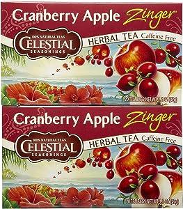 Celestial Seasonings Herbal Tea Caffeine Free Cranberry Apple Zinger - 20 Tea Bags