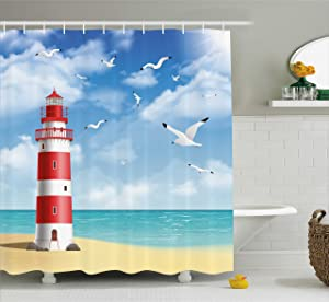 Ambesonne Beach Shower Curtain, Realistic Illustration Lighthouse on Calm Seashore Flying Seagulls Ocean Scenery, Fabric Bathroom Decor Set with Hooks, 70 Inches, Vermilion Blue