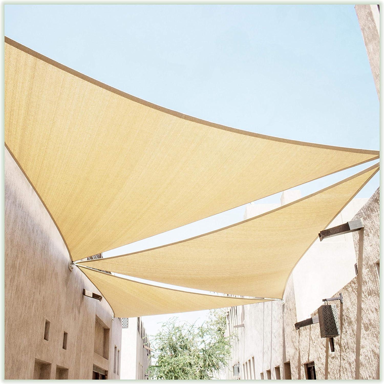 ColourTree Beige Sun Shade Sail Triangle Canopy