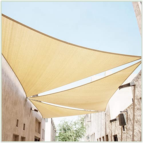 ColourTree 10' x 10' x 10' Beige Sun Shade Sail Triangle Canopy Awning Shelter Fabric Cloth Screen