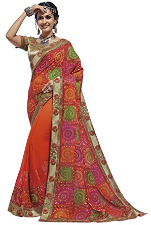 b3723c12f4 Shangrila Designer Women's Georgette Bandhej Printed Zari Lace Border  Bandhani Saree with Unstitched Blouse (RYLBDH3-5364, Multicolour):  Amazon.in: Clothing ...
