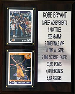 """product image for NBA Los Angeles Lakers Kobe Bryant Career Stat Plaque, 8"""" x 10"""", Brown"""