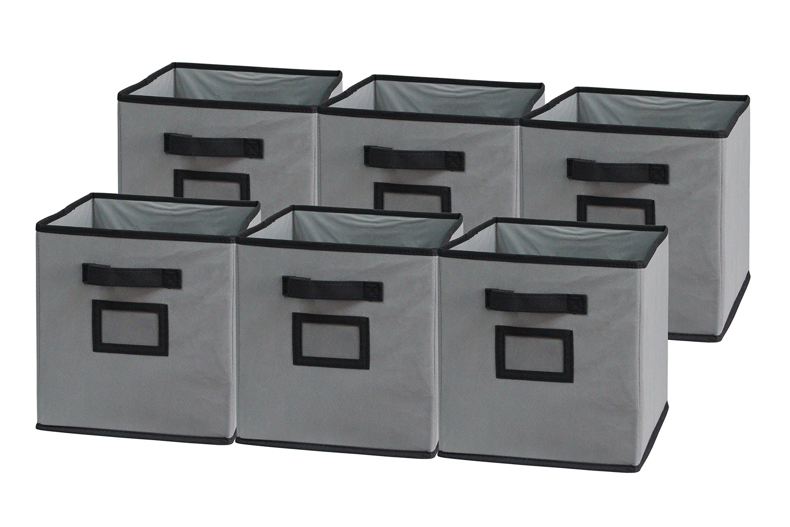 Sodynee Foldable Cloth Storage Cube Basket Bins Organizer Containers Drawers, 6 Pack, Black/Grey by Sodynee