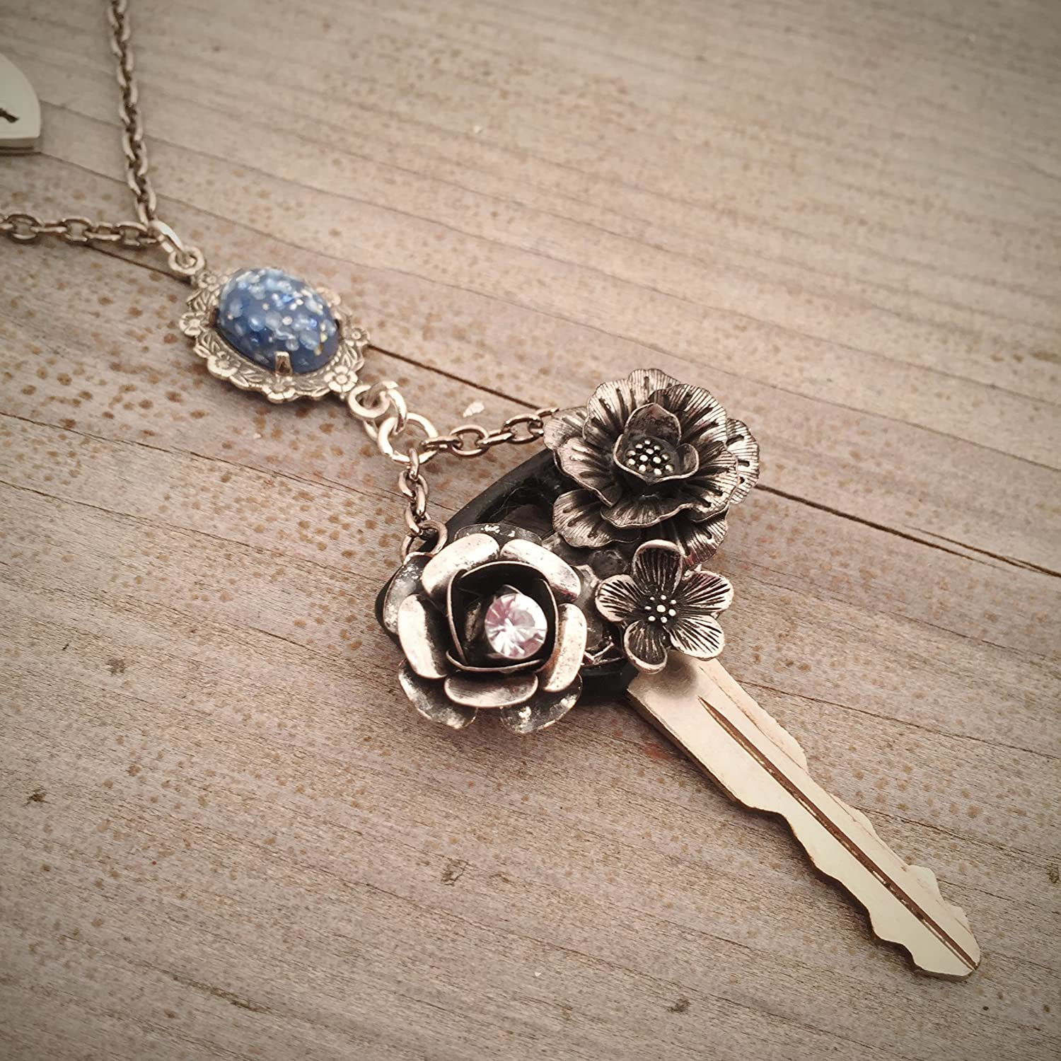 Joy assemblage necklace bird nature ooak pearl silver floral artisan made
