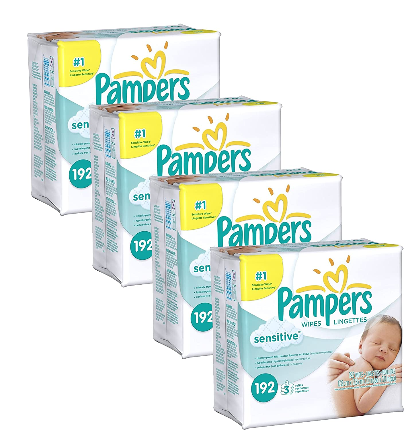 Amazon.com: Pampers Sensitive Wipes, 4 Pack of 192 Wipes, 768 Total Wipes: Health & Personal Care