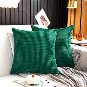 MERNETTE Pack of 2, Corduroy Soft Decorative Square Throw Pillow Cover Cushion Covers Pillowcase, Home Decor Decorations for Sofa Couch Bed Chair 18x18 Inch/45x45 cm (Granules Dark Green)