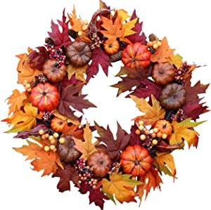 The Wreath Depot Woodbury Pumpkin Harvest Silk Fall Front Door Wreath, 22 Inches, Beautiful White Gift Box Included